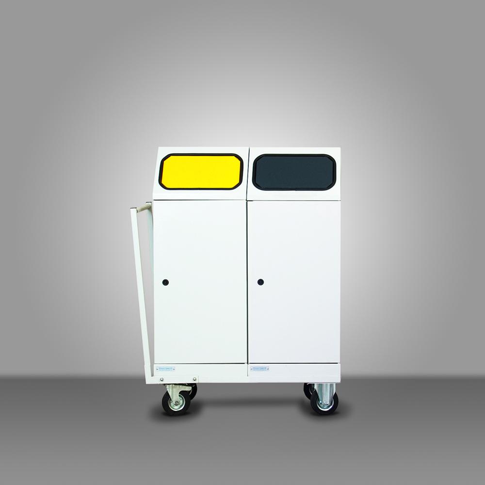 Mobil fém szelektív hulladékgyűjtő - 2 edényes