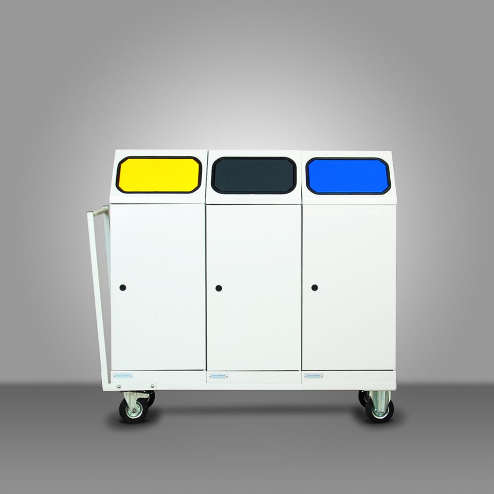 Mobil fém szelektív hulladékgyűjtő - 3 edényes