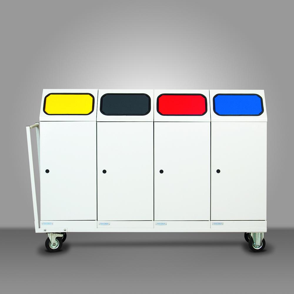 Mobil fém szelektív hulladékgyűjtő - 4 edényes